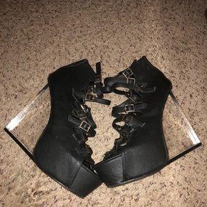Rare to find black high heels wedges